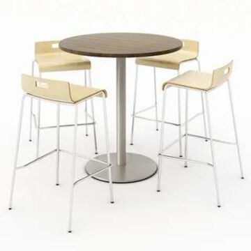 KFI Round Studio Teak Bistro Table Set, 4 Jive Series Stools (Natural - 36