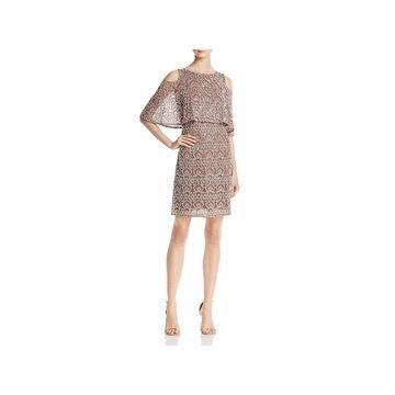 Aidan Mattox Womens Cocktail Dress Embellished Cold Shoulder