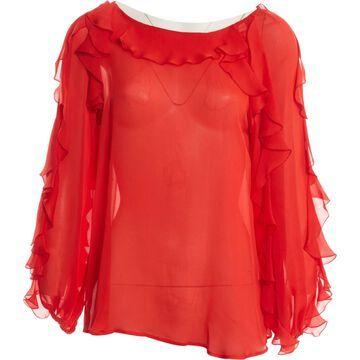 Blumarine Red Silk Tops