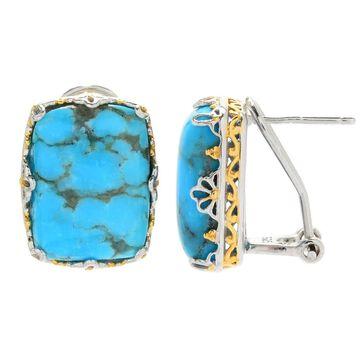 Michael Valitutti Palladium Silver Kaolin Turquoise Stud Earrings