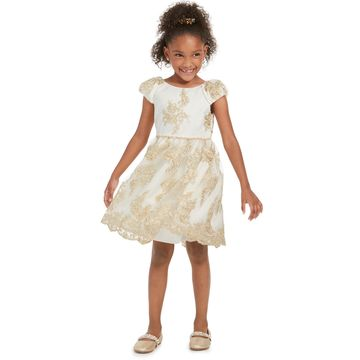 Little Girls Scalloped Embroidered Dress