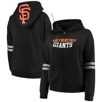 San Francisco Giants Soft As A Grape Women's Curvy Bio-Washed Full-Zip Plus Size Hoodie - Black