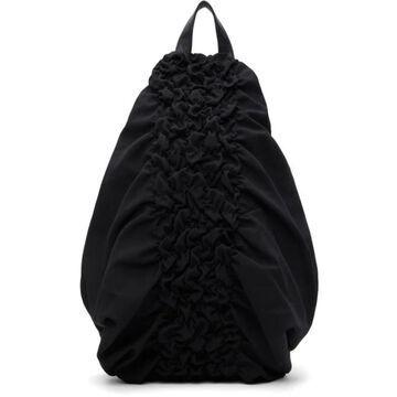 Yohji Yamamoto Black Wool & Leather Shirring Backpack