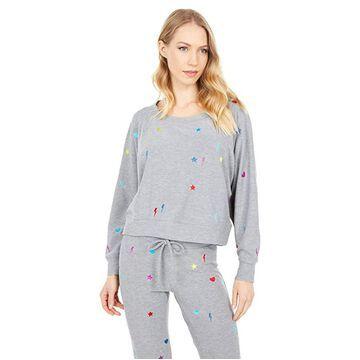Chaser Rainbow Stitches Cozy Knit Raglan Sweatshirt