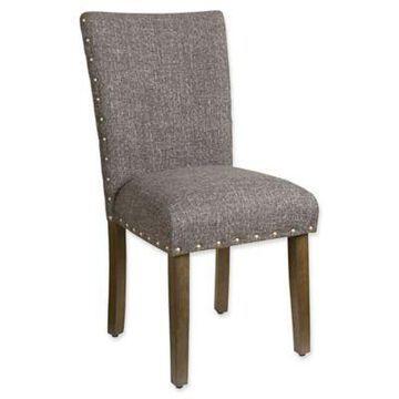 HomePop Heathered Tweed Parsons Dining Chair in Dark Grey