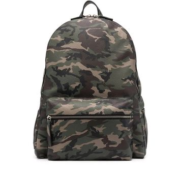 camouflage-print leather backpack