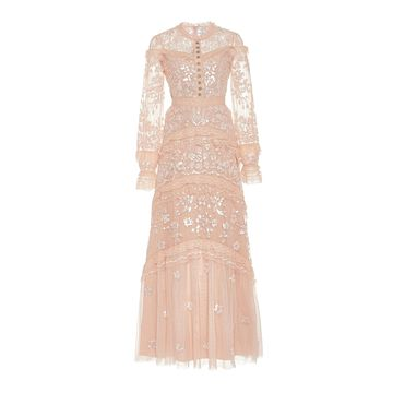 Needle & Thread Ava Ruffled Bead-Embellished Tulle Gown