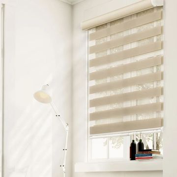 Chicology Free-Stop Cordless Zebra Roller Shade, Striped - Zebra, Sheer or Privacy - West Ecru