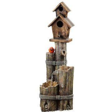 Alpine Corporation Outdoor 3-Tier Birdhouse Water Fountain with Cardinal