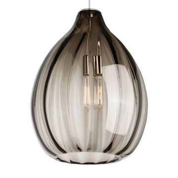 Harper Black One-Light Pendant with Smoke Shade and Black Stem