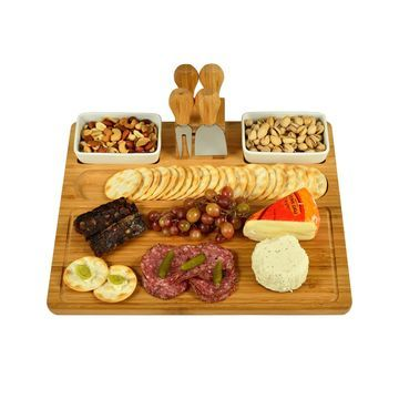 Sherborne Large Bamboo Cheese Board Set with 4 Tools and 2 Bowls
