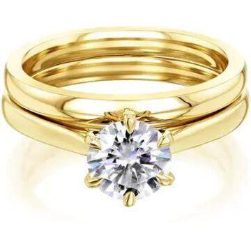 Annello by Kobelli 14k Gold Forever One Moissanite 6-Prong Solitaire Bridal Set (DEF/VS)