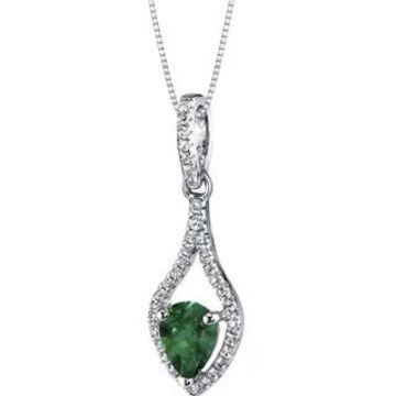 Oravo 14k White Gold Tear Drop Gemstone Pendant Necklace (0.75 ct Created Emerald)
