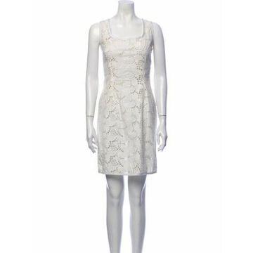 Lace Pattern Mini Dress White