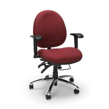 OFM 24 Hour Big and Tall Ergonomic Computer Swivel Task Chair with Arms, Fabric, Burgundy, (247-201) | Quill