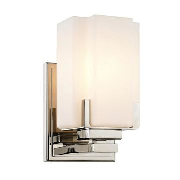 allen + roth Taylor 4.5-in W 1-Light Polished Nickel Transitional Wall Sconce