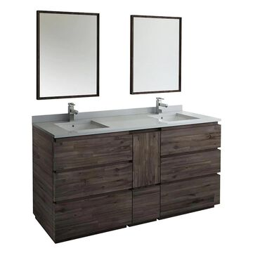 Fresca Stella 72-in Acacia Wood Undermount Double Sink Bathroom Vanity with White Quartz Top (Mirror and Faucet Included) in Brown