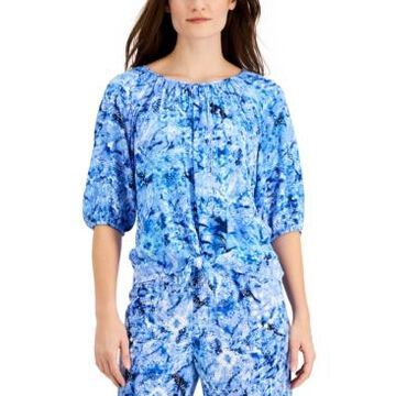 Jm Collection Ariana Printed Gauze Tie-Front Top, Created for Macy's