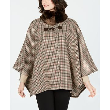 Faux-Fur-Collar Plaid Cape Coat