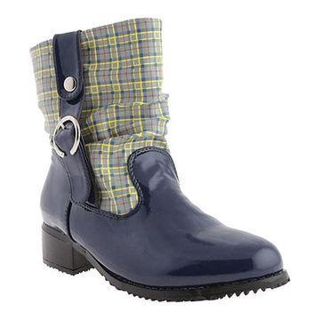 Beacon Shoes Women's Drizzle Navy Plaid Polyurethane