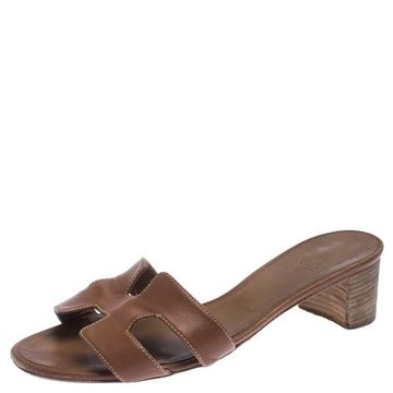 Hermes Brown Calf Leather Oasis Slide Sandals