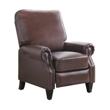 Caleb Leather Pushback Recliner Brown - Abbyson Living
