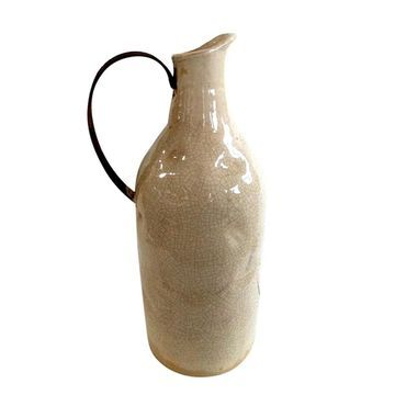 Jeco Beige Ceramic Small Pitcher With Metal Handle