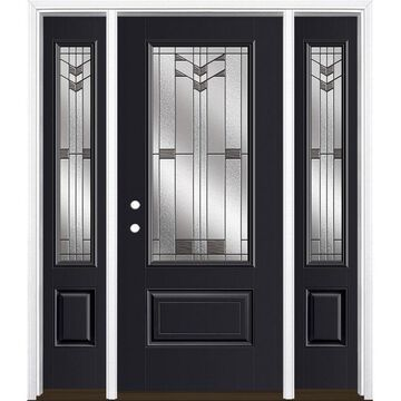 Masonite Frontier 64-in x 80-in Fiberglass 3/4 Lite Right-Hand Inswing Peppercorn Painted Prehung Single Front Door with Sidelights with Brickmould