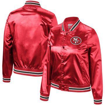 Mitchell & Ness San Francisco 49ers Women's Scarlet Lightweight Satin Full-Snap Jacket