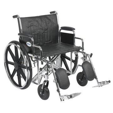 Drive Medical Sentra EC Heavy Duty Wheelchair, Detachable Desk Arms, Elevating Leg Rests, 24