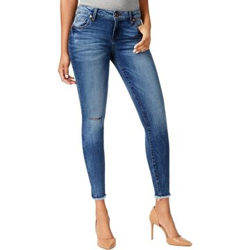 Kut From The Kloth Womens Petites Janet Skinny Jeans Denim Ripped