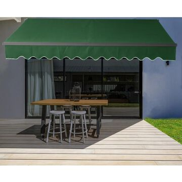 ALEKO Motorized 20'x10' Black Frame Retractable Home Patio Canopy Awning Green