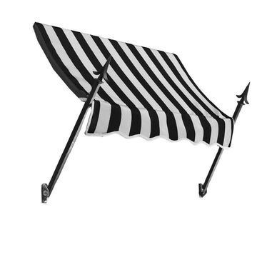Awntech New Orleans 124.5-in Wide x 24-in Projection Black/White Striped Striped Open Slope Window/Door Fixed Awning