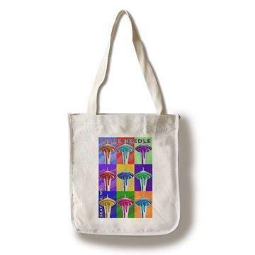 Seattle, Washington - Space Needle Pop Art - Lantern Press Artwork (100% Cotton Tote Bag - Reusable)