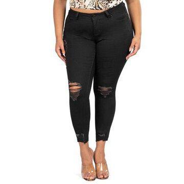 YMI Jeans Juniors' Plus Size Destructed Raw Hem Ankle Jean