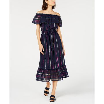 Off-The-Shoulder Metallic Striped Maxi Dress, Created For Macy's