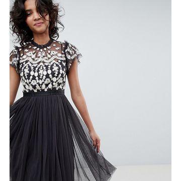 Needle & Thread embroidered bodice tulle midi dress in graphite