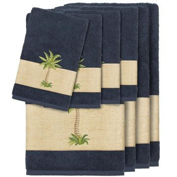 Authentic Hotel and Spa Turkish Cotton Palm Tree Embroidered Midnight Blue 8-piece Towel Set