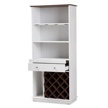 Baxton Studio 13-Bottle White Composite Wine Cabinet   150-9001-LW