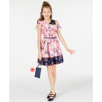 Big Girls Smocked Border-Print Skater Dress