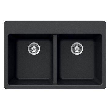Houzer M-200 MIDNITE Quartztone Series Granite Topmount 50/50 Double B