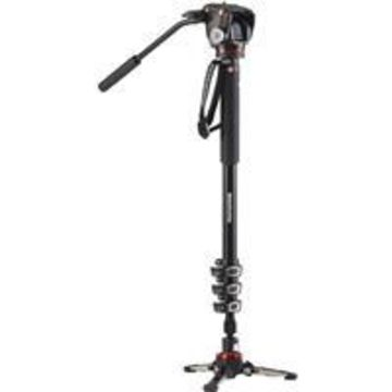 Manfrotto XPRO Aluminum Monopod with 2-Way Fluid Video Head, 4 Section, 31& Minimum Height, 80& Maximum Height