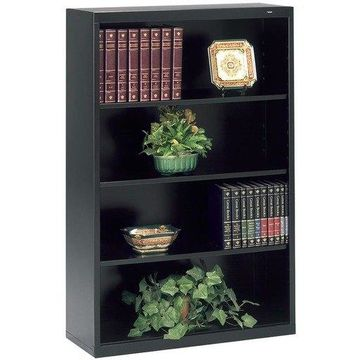 Tennsco Metal Bookcase, 4 Shelves, 34-1/2w x 13-1/2d x 52-1/2h, Black