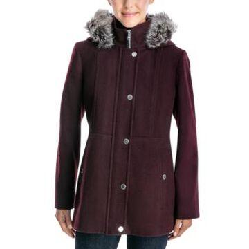 London Fog Faux-Fur-Trimmed Hooded Walker Coat