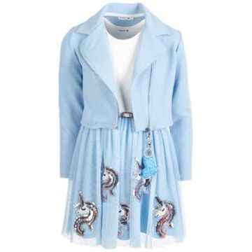 Beautees Big Girls 2-Pc. Moto Jacket & Unicorn Dress Set