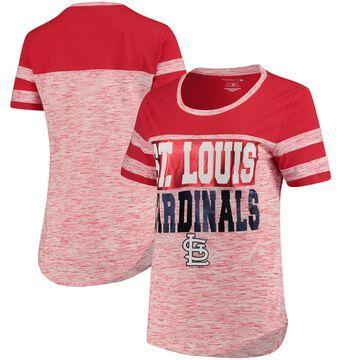 Women's 5th & Ocean by New Era Red St. Louis Cardinals Space Dye Crew T-Shirt