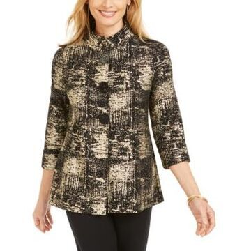 Jm Collection Metallic-Print Jacket, Created for Macy's