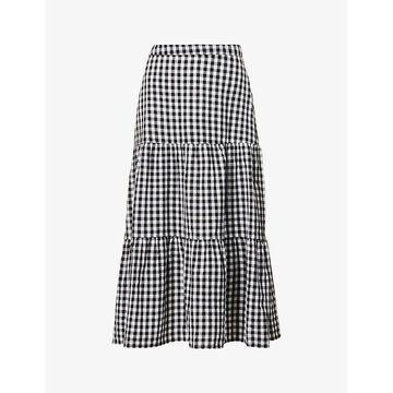 Whistles Womens Navy Gingham-print Cotton Midi Skirt 14