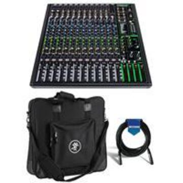 Mackie ProFXv3 16-Channel Professional Effects Mixer with USB + Software Bundle - Bundle With Mackie Carry Bag for ProFX16v3 Mixer, 20' Heavy Duty 7mm Rubber XLR Microphone Cable