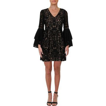 Xscape Womens Petites Party Dress Lace Bell Sleeve